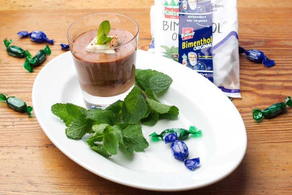 Schokoladenmousse mit Minze Geschmack, Kochen mit bonbons Rezept Bild zu