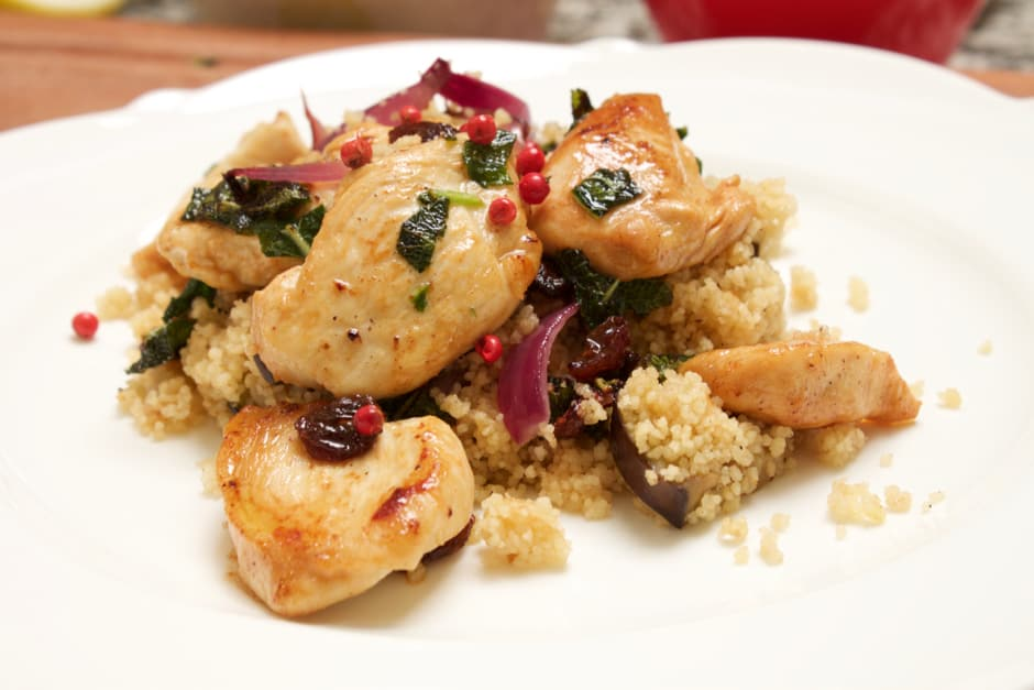 Heavenly scented Sage Chicken with Eggplant Couscous