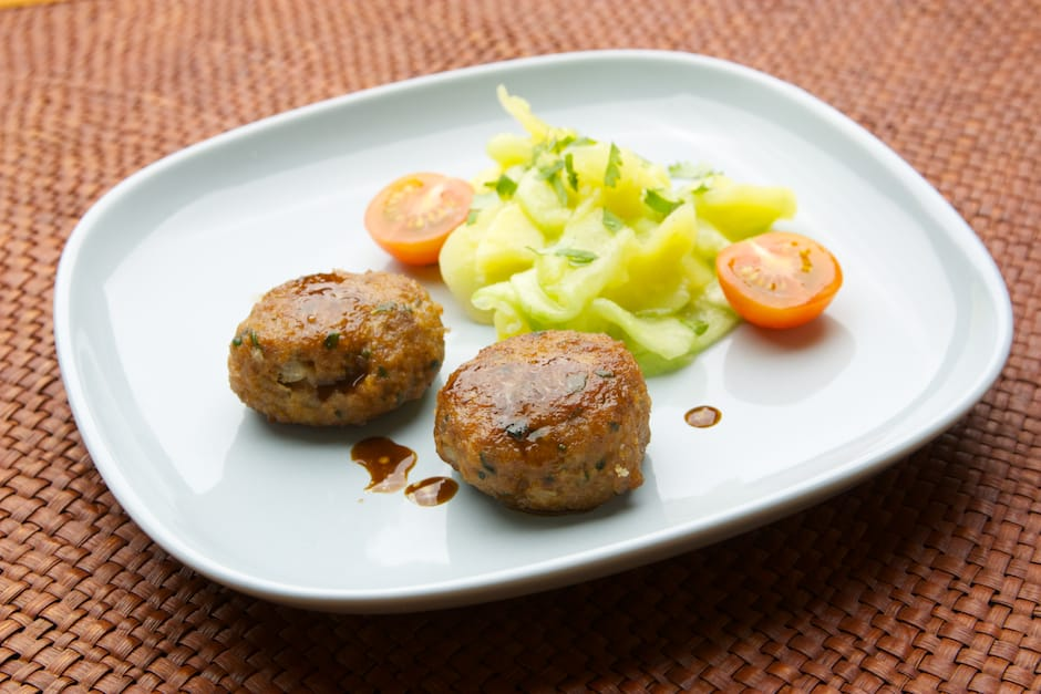recipe image bavarian meat balls named fleischpflanzerl with potato salad