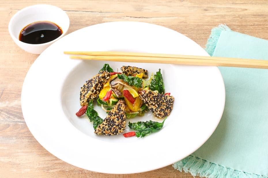 Tofu sesame coat with soy sauce nice arranged