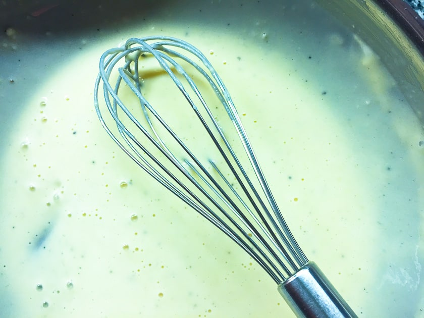 Mixed with a whisk.