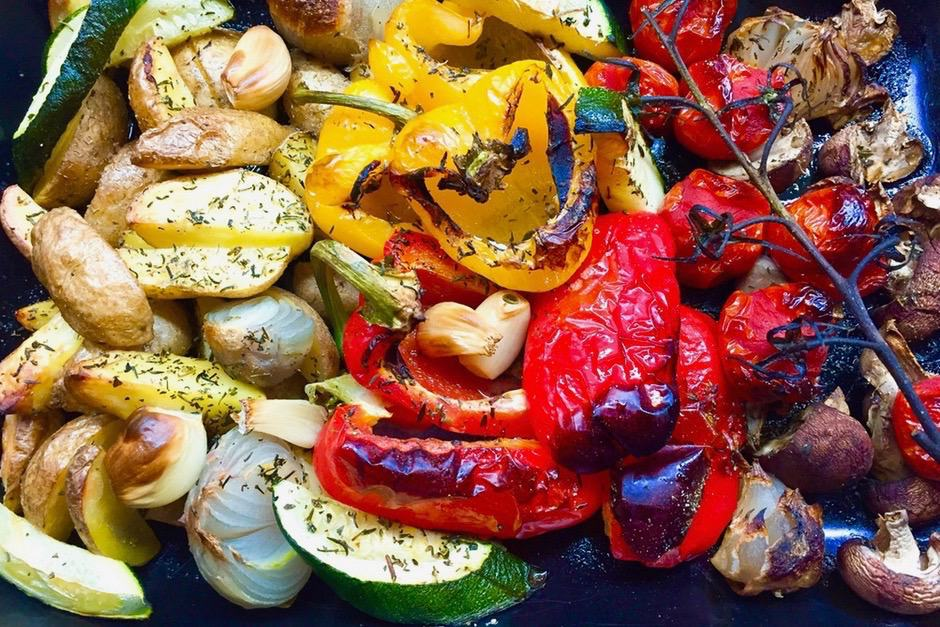 Oven vegetables fresh from the oven. Delicious roasted with plenty of great aromas.