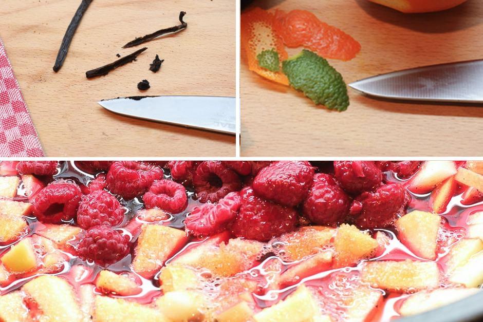 Marmelade mit Beeren Zutaten zusammenstellung