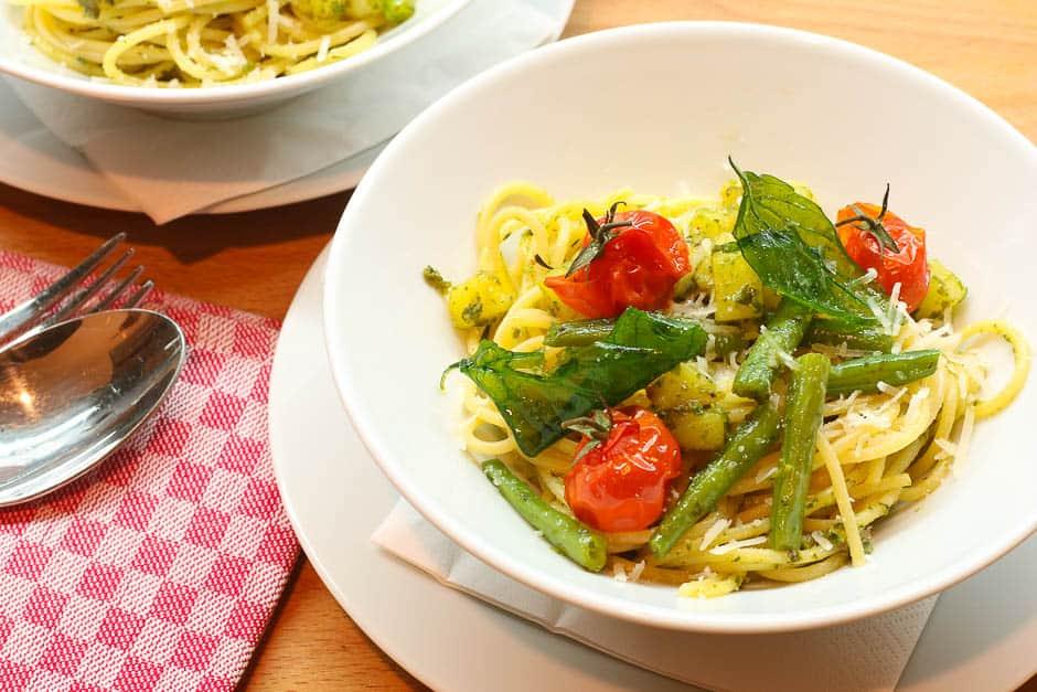 Spaghetti Pesto Genovese Foodbild Rezeptbild.