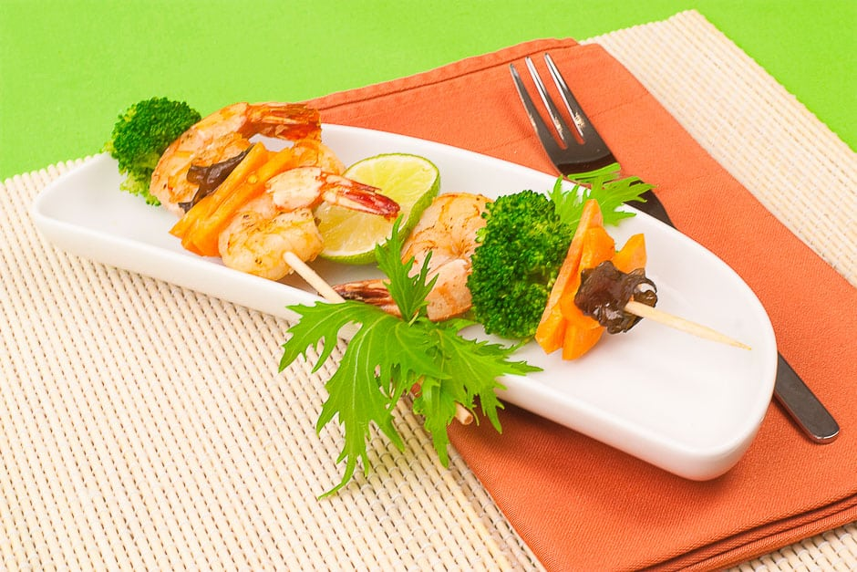 prawn skewers with vegetable ideal partyfood and fingerfood for your dinner party