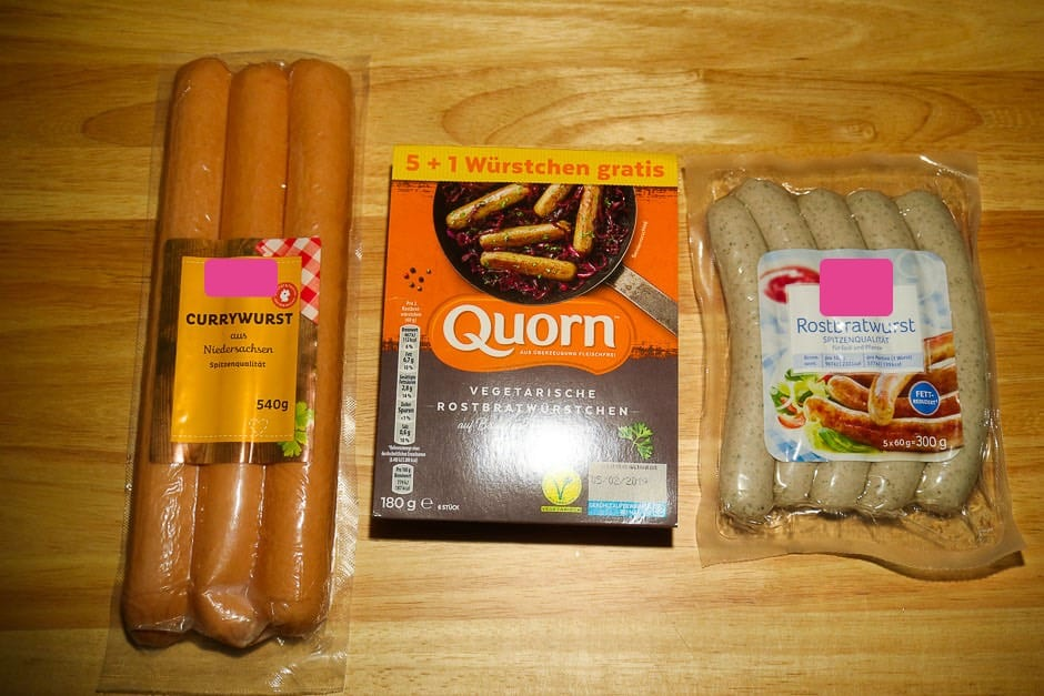 Sausage selection for curry sausage.
