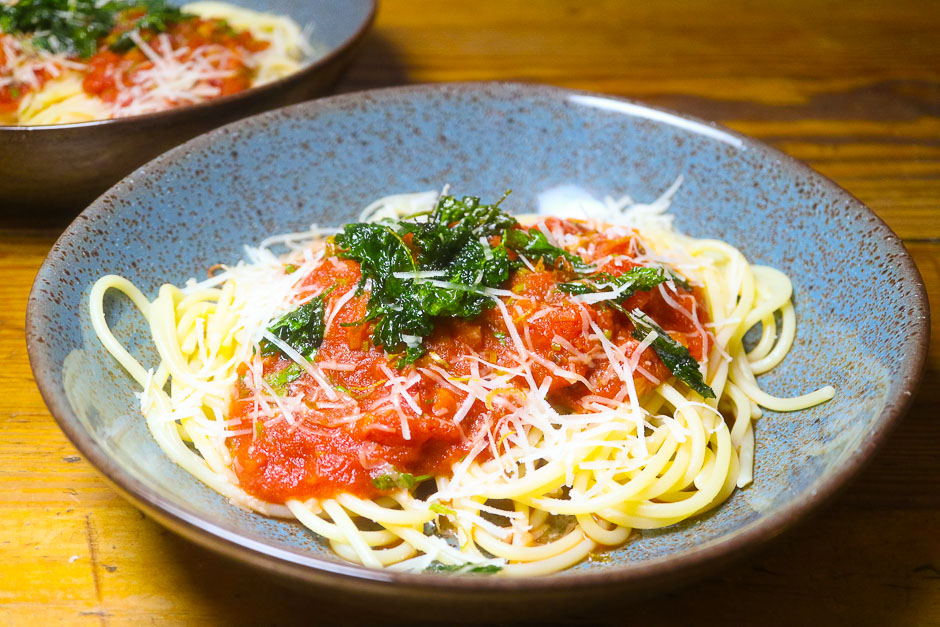 Recipe Picture Spaghetti All Amatriciana served on a nice plate