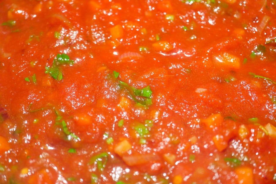 Tomato sauce for spaghetti all'Amatriciana close-up
