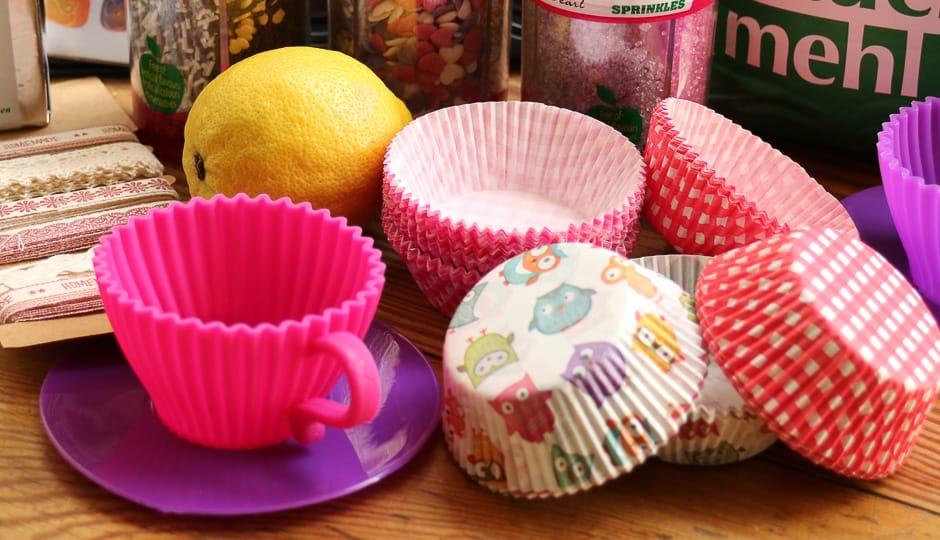 Cupcakes Förmchen und Zutaten