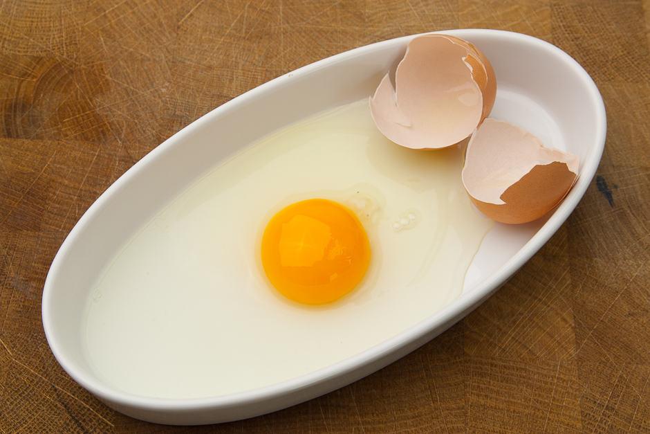 Beaten egg before poaching