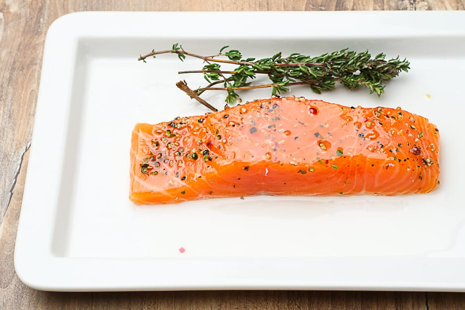 Salmon fillet fresh with herbs