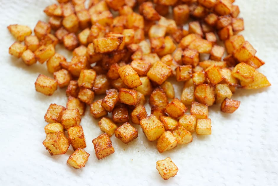 Fried potato cubes