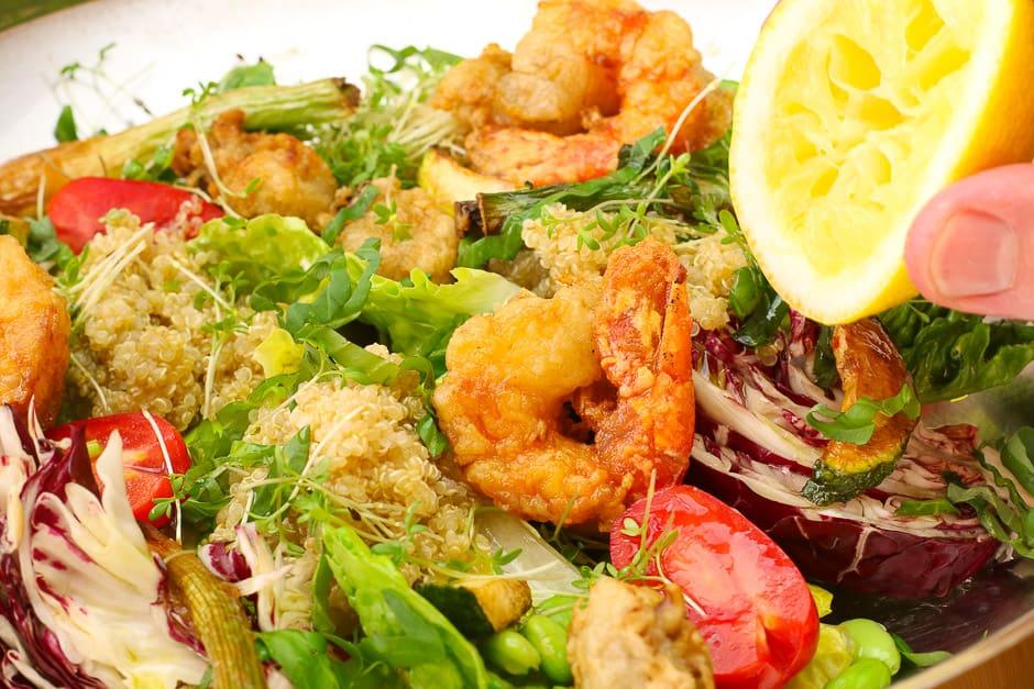Quinoa salad close-up in the bowl.