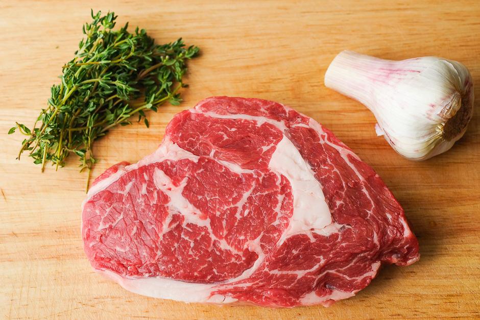Prepare rib eye steak for frying.