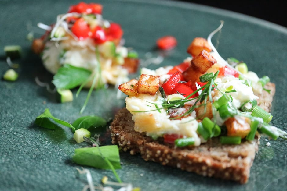 Vegan spread on bread, close-up view