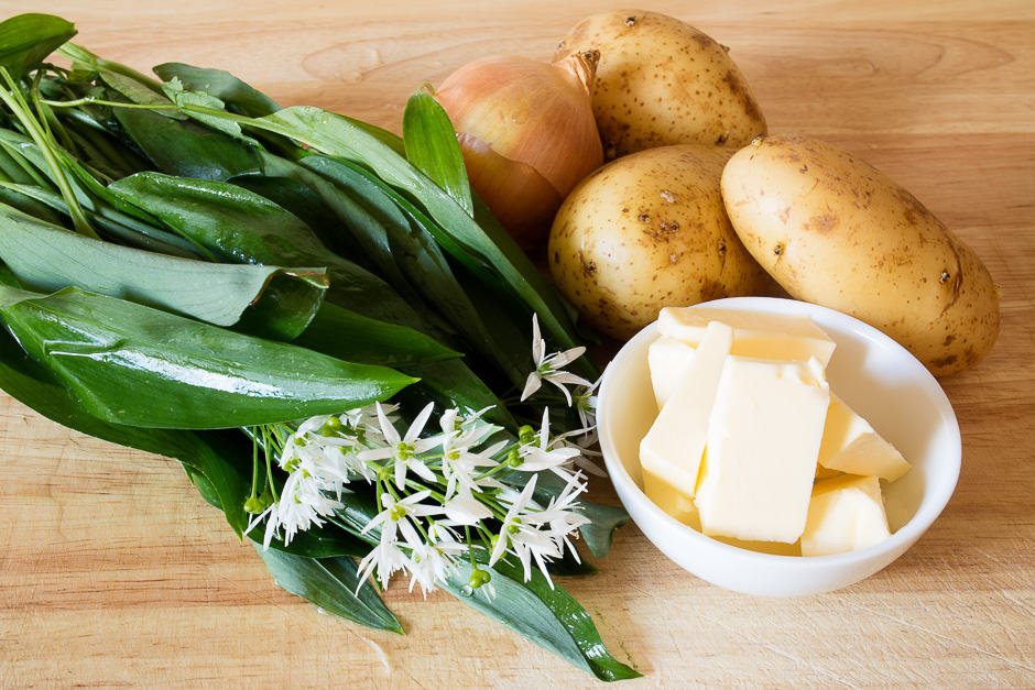 Ingredients wild garlic soup with fish and vegetables