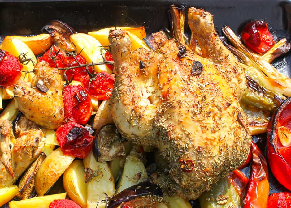 Roast chicken with vegetables ready prepared.