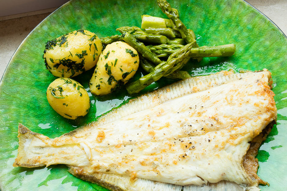 plaice flatfish whole fried with side dishes the recipe picture.