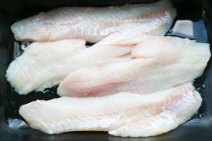 rose fish fillets Kitchen-ready raw.