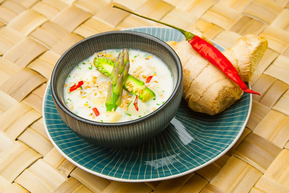 Exotic asparagus soup with coconut milk.