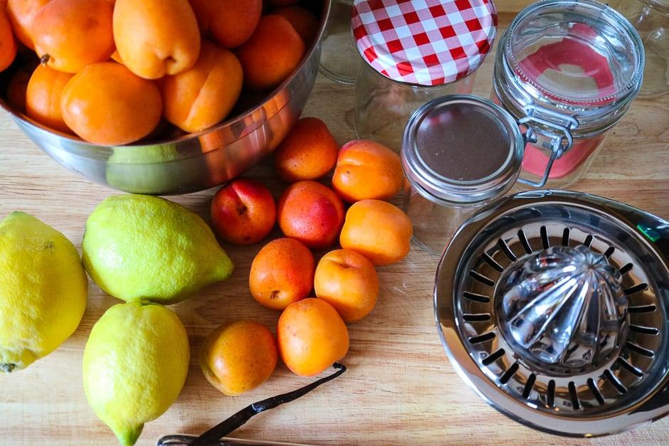 Zutaten fuer Aprikosenmarmelade