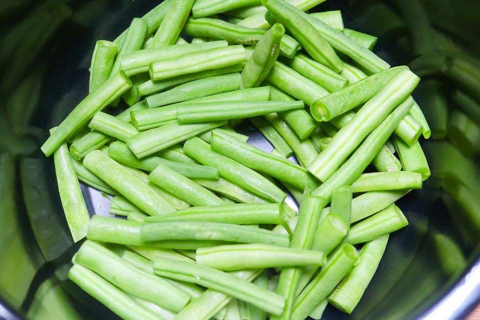 Fresh beans in a pot