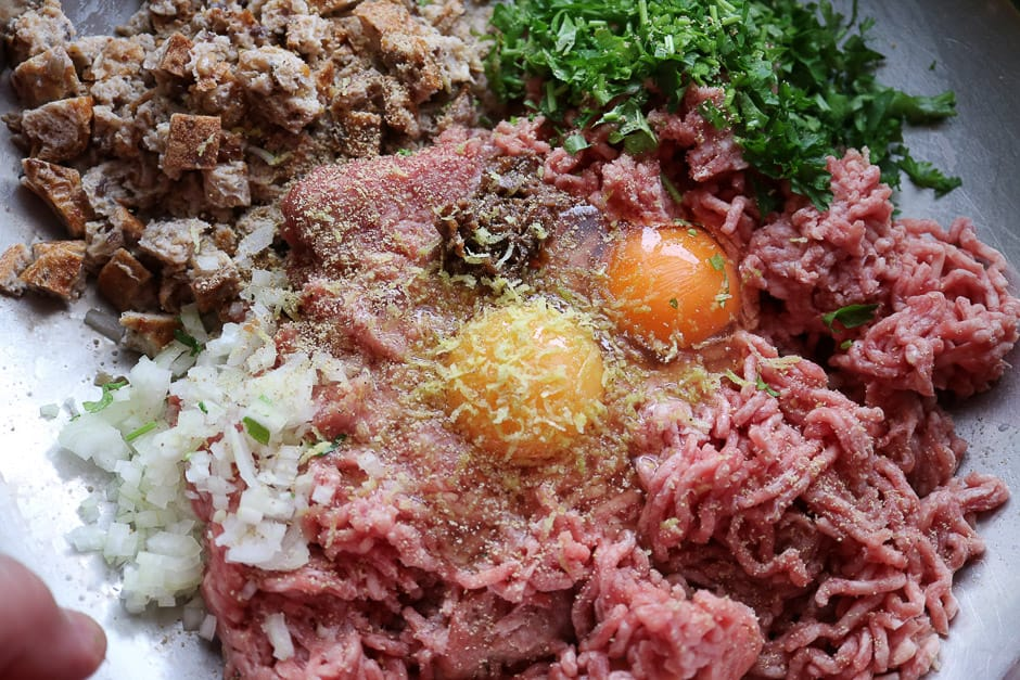 minced meat mass for meatballs