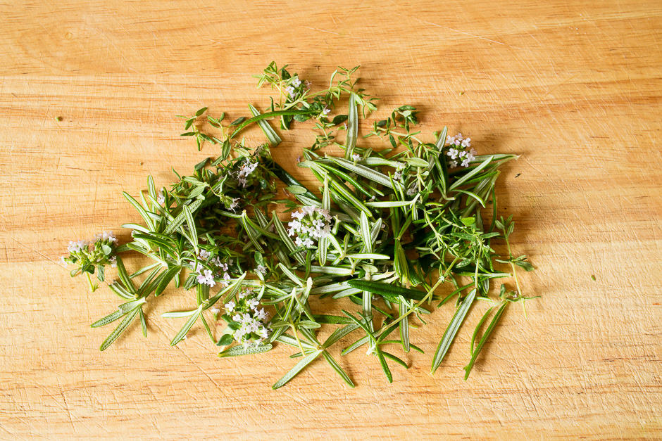 Pluck the herbs and prepare them on a heap.