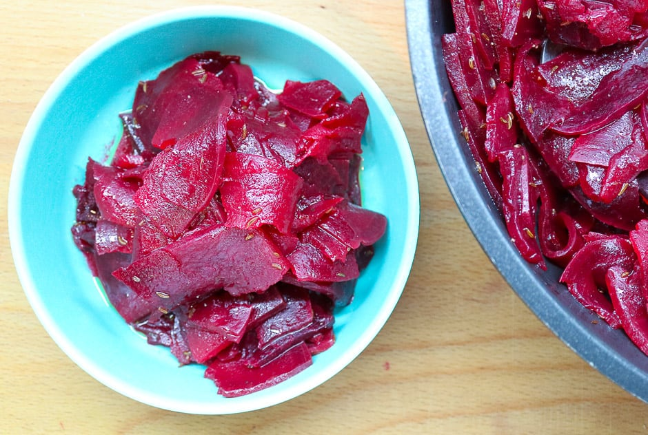 Beetroot salad photographed from above