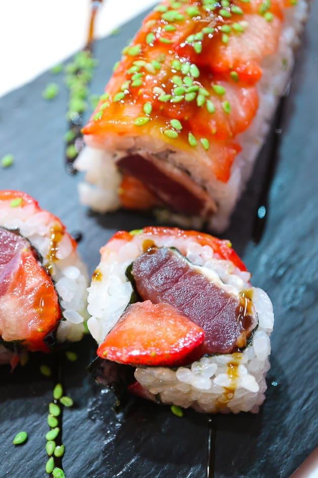 Tuna Sushi with Strawberries