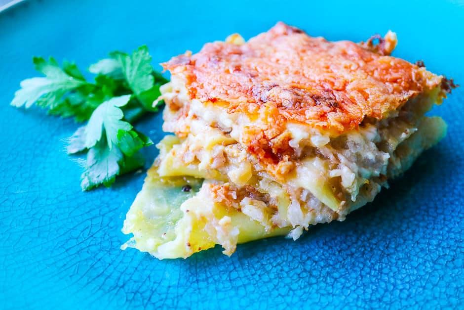 Vegetarische Lasagne auf dem Teller