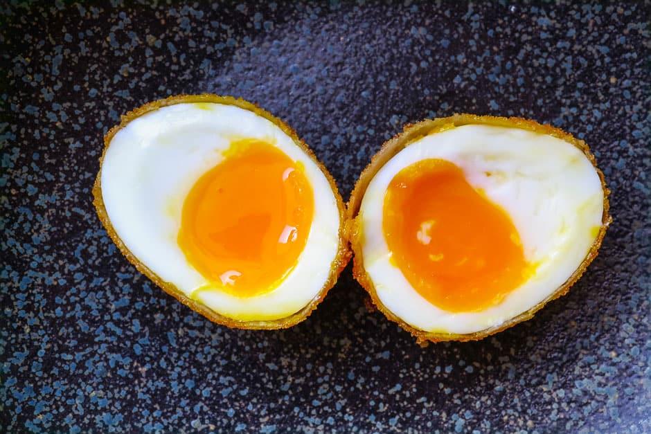 halved, sliced, baked eggs