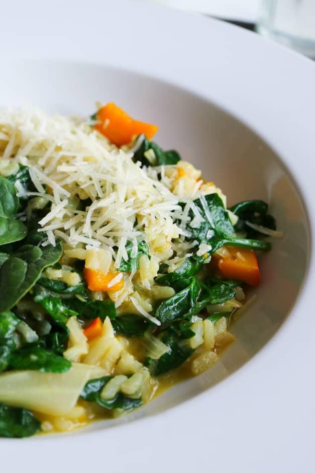 Kürbis Risotto mit Spinat und Parmesan
